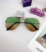 Солнцезащитные очки авиаторы Ray Ban реплика с зелено-коричневые градиентом
