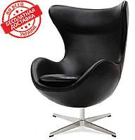 Дизайнерское черное кресло Эгг (Egg) регенерированная кожа СДМ группа(бесплатная доставка)