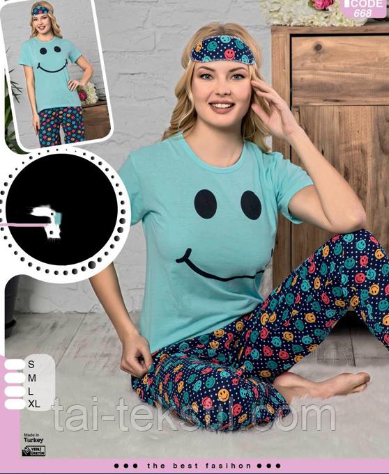 Пижама женская футболка и брюки хлопок 100 % Т.М SAFIR Турция № 668