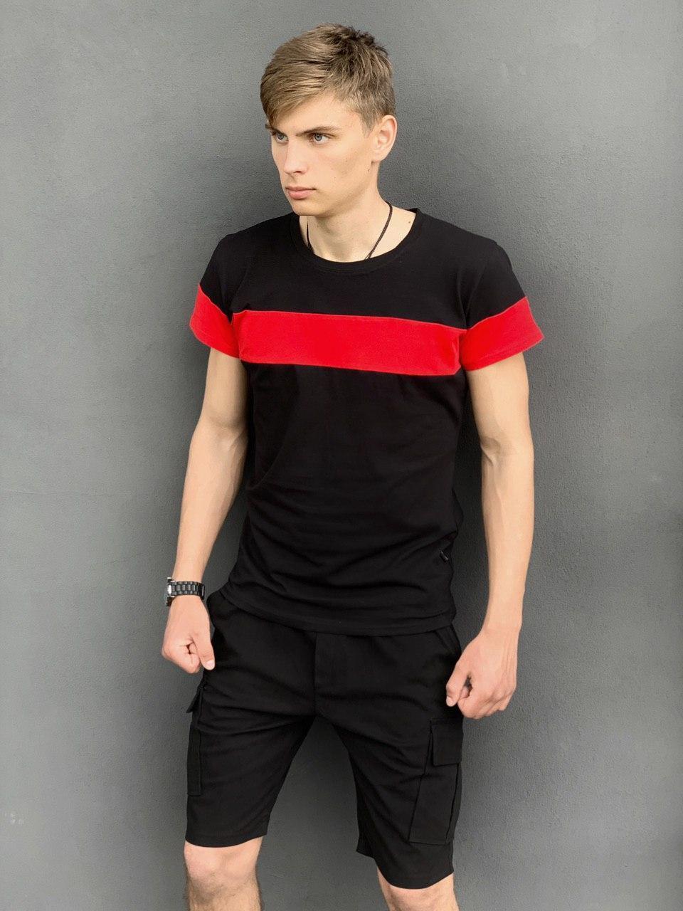 """Футболка """"Color Stripe"""" черная - красная + Шорты Miami Черные Intruder. Комплект летний мужской"""