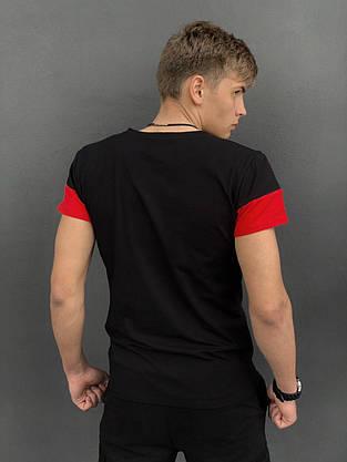 """Футболка """"Color Stripe"""" черная - красная + Шорты Miami Черные Intruder. Комплект летний мужской, фото 3"""