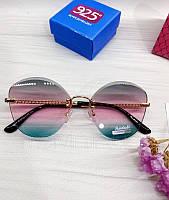 Женские солнцезащитные очки бабочки с розово-голубым градиентом