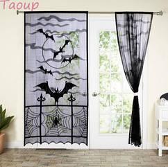 """Кружевная черная штора для Halloween """"Летучие мыши"""" 1шт. - длина 213см, ширина 116см"""