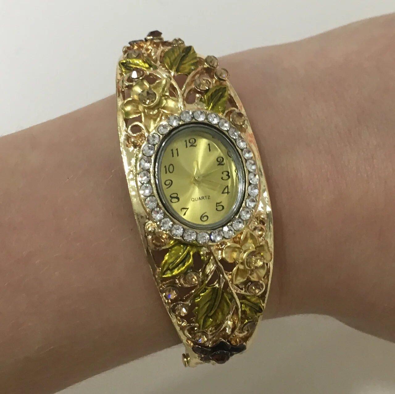 Женские наручные часы с цветочным орнаментом (наручные кварцевые часы)