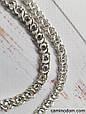 Серебряное женское колье Арабский Бисмарк с белыми камнями. 55-60 см. Вес 28.35 гр. Ручное плетение. 925 проба, фото 2