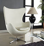 Дизайнерское белое кресло Эгг (Egg) регенерированная кожа СДМ группа (бесплатная доставка), фото 4