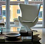 Дизайнерское белое кресло Эгг (Egg) регенерированная кожа СДМ группа (бесплатная доставка), фото 6
