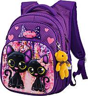 Рюкзак школьный ортопедический для девочки 1-4 класса фиолетовый с кошками Winner One R3-227, фото 1