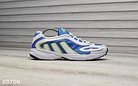 Кроссовки мужские Adidas Galaxy в стиле Адидас Гелекси, замша, код ТD-8706. Белые с голубым