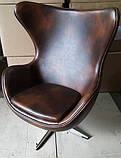 Кресло Эгг (Egg) кожа цвет коричневый (бесплатная доставка), фото 2