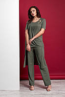 Стильный  женский трикотажный костюм с ассиметричной туникой и брюками  Style-nika ВИВАРИ