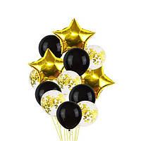 Набор фольгированных и воздушных шаров с конфетти черные с золотом (13 шт. в уп.)
