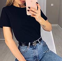Женская базовая футболка однотонная, фото 1
