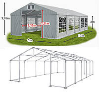Шатер 5х10 ПВХ 560 г/метр с мощным каркасом под склад, гараж, палатка, ангар, намет, павильон садовый