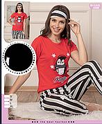 Пижама женская футболка и брюки хлопок 100 % Т.М SAFIR Турция № 4088