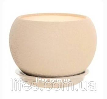 Вазон керамический шар бежевый шелк 9л