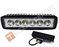 Светодиодная фара LED рабочего света дополнительная 18W на 6 диодов прямоугольная