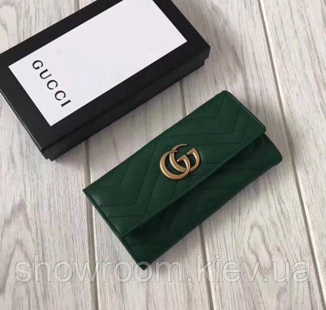 Женский кожаный удобный кошелек (443436) зеленый