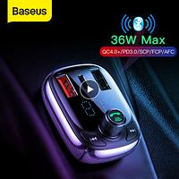 FM трансмиттер  модулятор Baseus Quick Charge 4,0 автомобильное зарядное устройство для телефона fm-передатчик