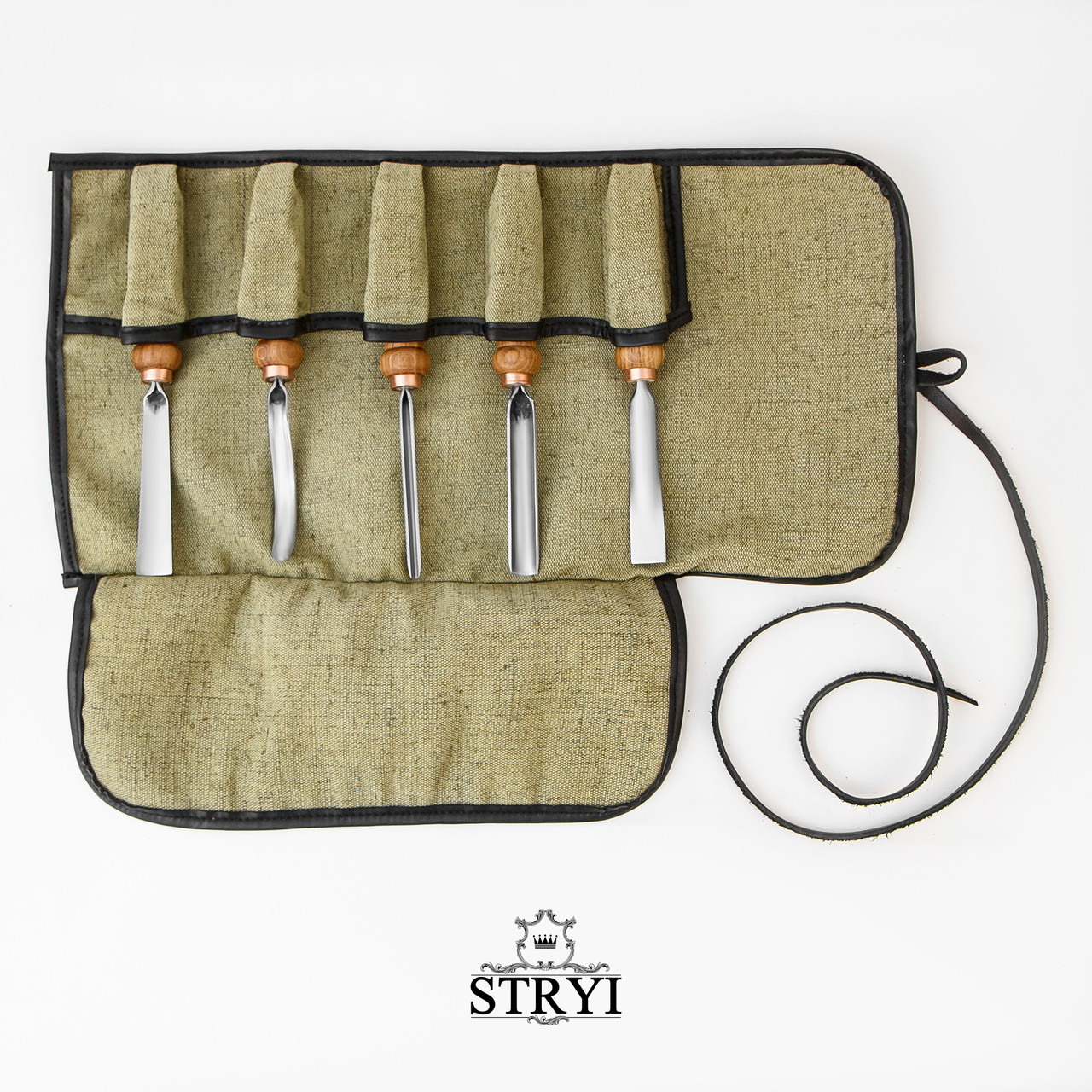 Чехол-скрутка на 5 стамесок для хранения инструментов для резьбы по дереву, фото 1