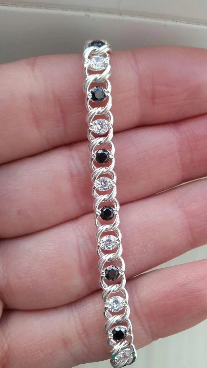Серебряное женское колье Арабский Бисмарк с черно-белыми камнями. 50-55 см. Вес 23.75 гр. 925 проба