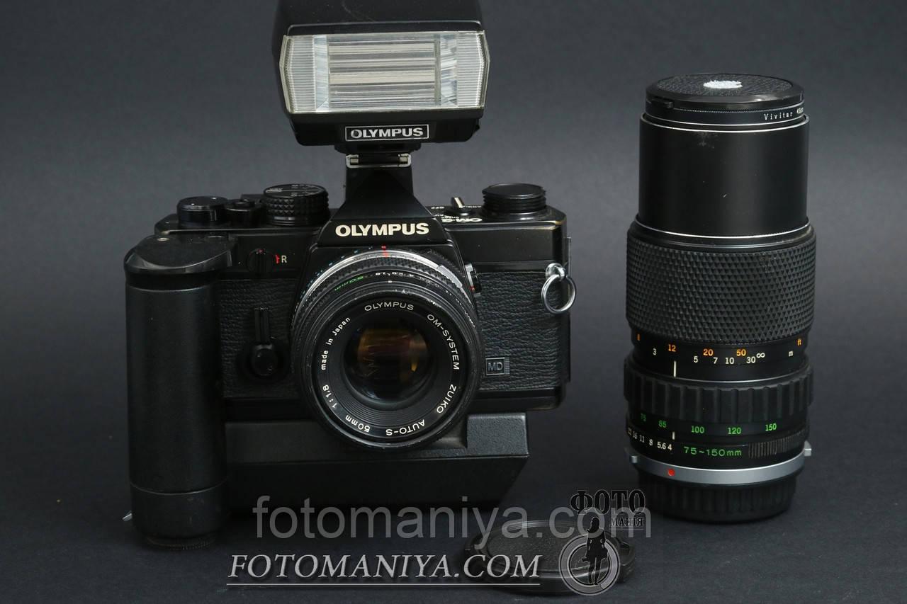 Olympus OM-2 kit Zuiko 50mm f1,8 + Zuiko 75-150mm f4.0 + winder