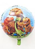"""Куля фольгована кругла """"Добрий Динозавр"""" 45 см"""