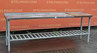 Стол производственный из нержавеющей стали с решётчатой полкой 240х50х85 см., (Украина), Б/у, фото 1