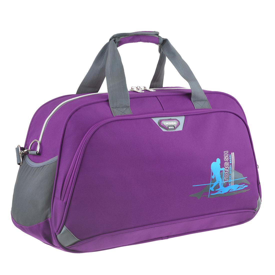 Дорожная сумка TONGSHENG 58x36x22 ткань полиэстер, два боковых кармана, цвет фиолетовый кс99311ф