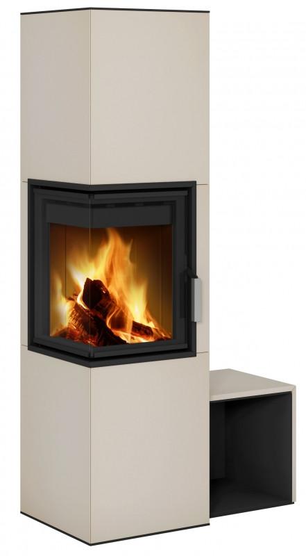 Угловая печь камин для дома длительного горения Hein CORNEA L 3S Accum
