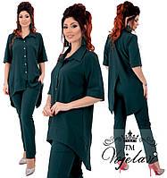 Модный женский стильный летний брючный костюм батал: брюки+ ассиметричная рубашка (р.48-52). Арт-2187/42