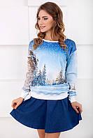 Женский хлопковый голубой свитшот с длинными рукавами. Принт Снежный пейзаж, лес