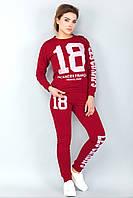 Женский спортивный, домашний, для прогулок костюм. Принт номер 18. Красный