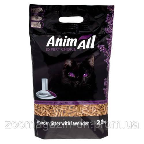 AnimAll Древесный наполнитель для кошачьего туалета с ароматом лаванды, 2,8кг