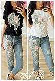 Женский костюм джинсы с аппликацией и футболка 7910652, фото 2