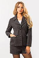 Женский костюм в мелкую клеточку, пиджак и шорты, деловой, летний, офисный. Клетчатый. Серый