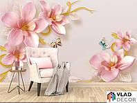 Фотошпалери 3D квіти і метелики по Вашим розмірам