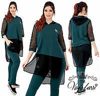 Модний жіночий стильний річний брючний костюм батал: штани+туніка з мереживом (р. 48-54). Арт-2188/42, фото 1