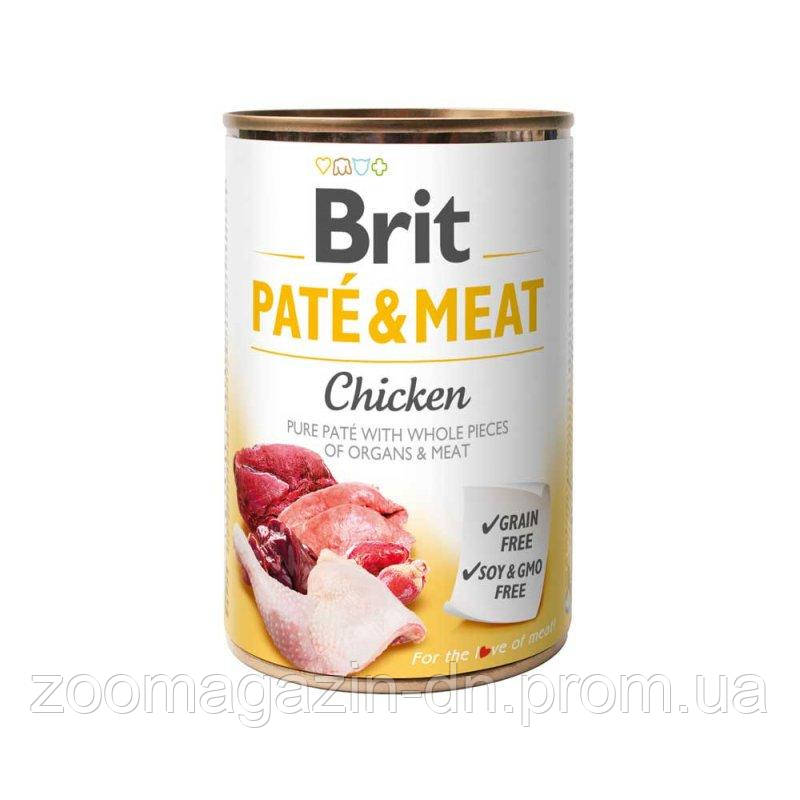 Brit Pate & Meat Dog k 400 gдля взрослых собак  с курицей
