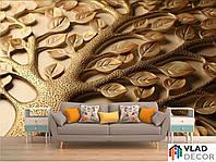 Фотообои 3D золотое дерево по Вашим размерам