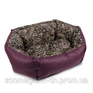 Лежак для собак  «Кокос» орнамент/бордо 48х38х18 см
