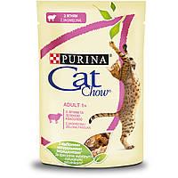 Cat Chow  (Пурина Кэт Чау). С ягненком и зеленой фасолью. Нежные кусочки в желе. Консервированный порционный полнорационный корм для взрослых кошек.