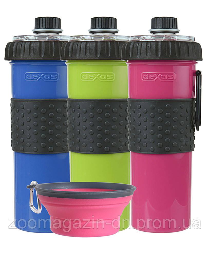 Dexas Snack DuO with Collapsible Cup Бутылка двойная для воды и корма или лакомств со складной миской для собак и кошек (3 мерных стакана) зеленый