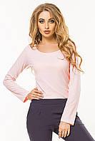 Женский тонкий джемпер рубчик с открытой горловиной и длинными рукавами. Розовый. Кофточка.Вискоза