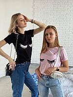 Женская футболка реснички белая,черная,розовая хб
