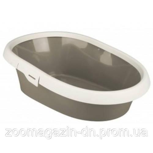 """Туалет для кота """"Paulo 1"""" с рамой 39х17х58 см серый с кремовым"""