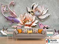 Фотообои 3D цветы и рыбки по Вашим размерам