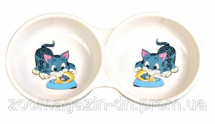 Миска керамическая TRIXIE для кошек двойная 0,15 л
