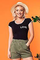 """Черная женская футболка с надписью """"Love"""". Коттоновая, из натуральной ткани"""