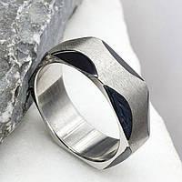 Кольцо из медицинской стали с черной эмалью 175942, фото 1